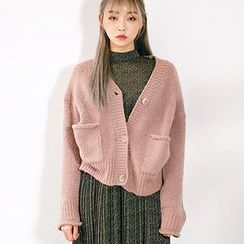 chuu - V-Neck Dual-Pocket Wool Blend Cardigan