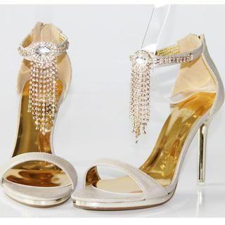 77Queen - Rhinestone-Fringe Ankle-Strap Heel Sandals