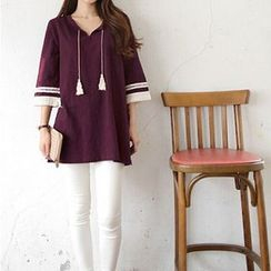 Everose - Elbow-Sleeve Tasseled Tunic
