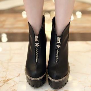 Pangmama - Skull-Zip Chunky-Heel Ankle Boots