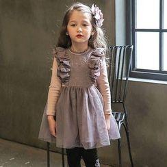 Cuckoo - Kids Frill Trim Mock Two-piece Dress