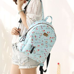 Canvas Love - Cupcake Print Faux Leather Backpack