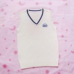 Rega - Embroidered Knit Vest