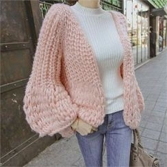 TOM & RABBIT - Puff-Sleeve Chunky-Knit Cardigan