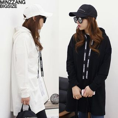 Seoul Fashion - Hooded Lettering-String Pullover