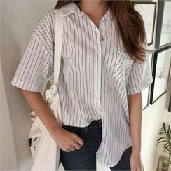 QNIGIRLS - Short-Sleeve Stripe Shirt