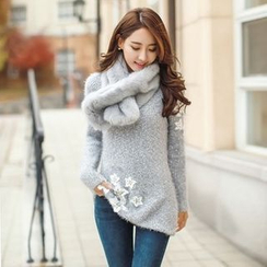 Styleonme - Star Appliqué Knit Sweater