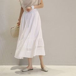 NANING9 - Lace-Trim A-Line Maxi Skirt