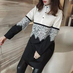 Sienne - Long-Sleeve Lace Panel Shirt Dress