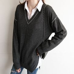 NIPONJJUYA - V-Neck Wool Blend Knit Top