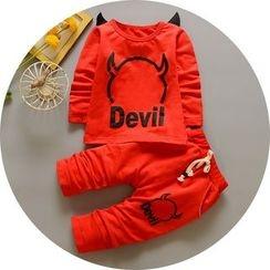 POMME - 童装套装: 恶魔印花套衫 + 抽绳裤