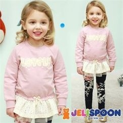JELISPOON - Girls Lace Layered-Hem Lettering Top