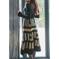 REDOPIN - Band-Waist Pattern Midi Skirt