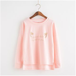 Lemon Town - Cat Embroidered Long Sleeve T-Shirt