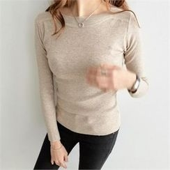 PEPER - Round-Neck Plain Knit Top