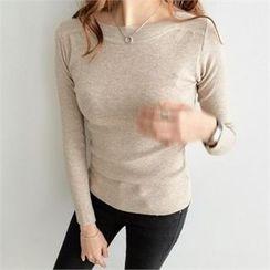 PEPER - Round-Neck Plain Knit Top