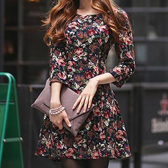 Dowisi - Floral Print A-Line Dress