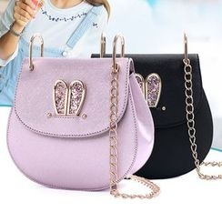 Clair Fashion - Rhinestone Rabbit Chained Shoulder Bag