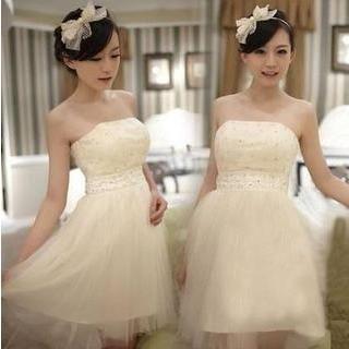 Fantasy Bride - Strapless Rhinestone Short Prom Dress