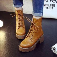 Kireina - Chunky-Heel Platform Lace-Up Ankle Boots