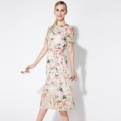 O.SA - Short-Sleeve Floral Midi Dress