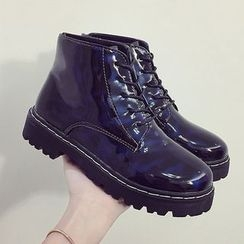 SouthBay Shoes - Chunky Heel Lace Up Faux Patent Leather Boots