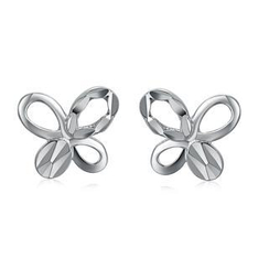 MaBelle - 14K/585 White Gold Butterfly Stud Earrings