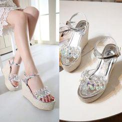 Anran - Rhinestone Espadrilles Wedge Sandals