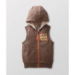 malimarihome - Baby Lettering Hooded Zip Vest