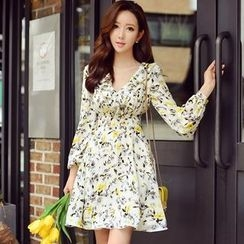 Dabuwawa - Long-Sleeve V-Neck Printed Dress