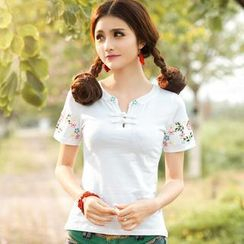 Diosa - Short-Sleeve Embroidered Chinese Frog Button Top