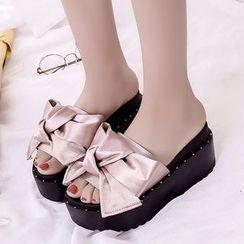 Shanhoo - Bow-Accent Platform Wedge Mule Sandals