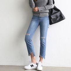 NANING9 - Cutout-Hem Straight-Cut Jeans