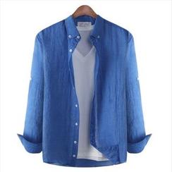 WIZIKOREA - Tab-Sleeve Crinkled Shirt
