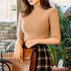 chuu - Short-Sleeve Wool Blend Rib-Knit Top