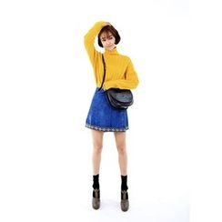 ssongbyssong - Wrap-Front Denim Skirt