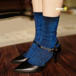 MITU - 銀絲微亮薄款短襪