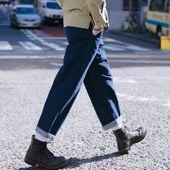 YIDESIMPLE - 九分阔腿牛仔裤