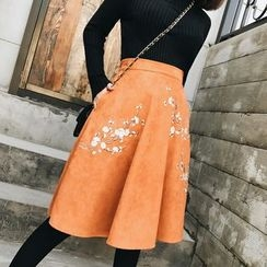 Jack Grace - Embroidered A-Line Skirt