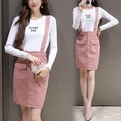 Mandalle - Set : Letter Long-Sleeve Top + Suspender Skirt