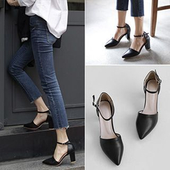 SouthBay Shoes - Chunky Heel Pointy Pumps