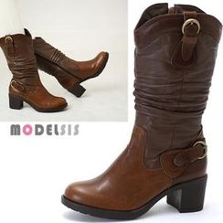 MODELSIS - Genuine Leather Buckled Shirred Boots