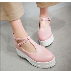Freesia - Platform Hidden Wedge T-Bar Shoes