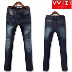 WIZIKOREA - Washed Ribbed-Panel Jeans