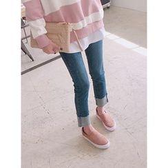 hellopeco - Roll-Up Hem Straight-Cut Jeans