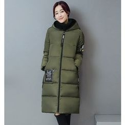Dream Girl - Maternity Lettering Applique Long Padded Jacket