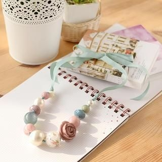 Petit et Belle - Rose & Bead Adjustable Necklace