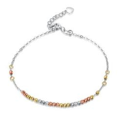 MaBelle - 14K Yellow, Rose And White Gold Diamond Cut Beads Bracelet (17.5cm)
