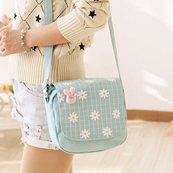 Canvas Love - Floral Print Check Canvas Shoulder Bag