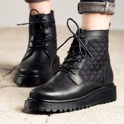 MIAOLV - Quilted Panel Lace-Up Short Boots